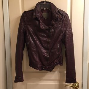 Muubaa burgundy quilted leather jacket